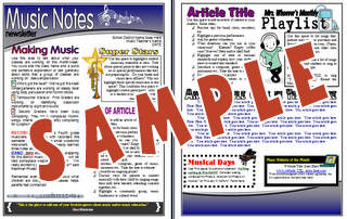 Bulletin Boards For The Music Classroom - Two page newsletter template